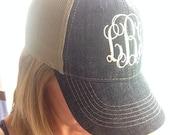 Monogram  Distress Chambray  Hat, Monogram Trucker Hat, Monogram Cap, Monogram Baseball Cap