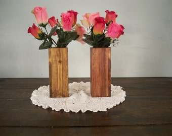 A Pair of Tall Wood Vase,  Wood Center Piece, Wood Vase Centerpiece, Rustic Centerpiece, Primitive Center Piece, Rustic Wood Box
