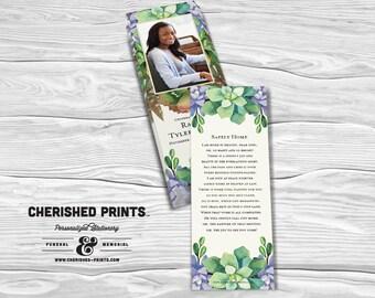 Succulents Memorial Funeral Bookmark