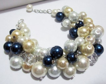 Pearl Bridesmaid Jewelry, Ivory, White, Navy and Gold Champagne, Bridesmaid Bracelet, Chunky, Cluster Wedding Bracelet, Bridesmaid Gift