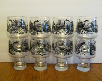 Libbey Glass Game Bird Footed Pedestal Bar Glasses Steiners