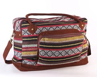 Aztec Overnight Travel Bag Carry on Weekender Bag Woven Cotton, Boho, Hippie, Unisex