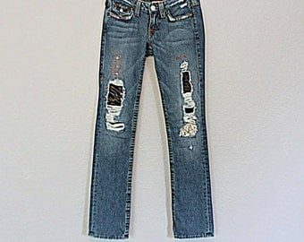 True Religion Jeans / Refashioned Tattered Patched Women's Junior's Denim / Upcycled  Funky Unique Jeans