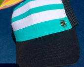 Turquoise and White Striped Trucker Hat