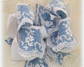 Denim and Lace Hair Bow....Denim Hair Bow....Lace Hair Bow...Denim Bow