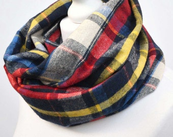 Tartan infinity scarf, gift for her, cowl scarf, girlfriend gift, snood, gift for women, winter scarf, plaid scarf, blue tartan