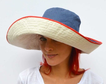 Wide brimmed sun hat, summer hat, reversible hat, foldable hat, travel hat, cream hat, navy blue polka, cotton hat, boho hat, floppy hat