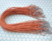 50pcs 17'' Orange Waxed Cotton Cord Necklace With Lobster Clasp&5cm Extension Chain size 1.5mm