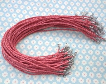 50pcs Watermelon red faux braided leather necklace cord 16-18inch with white k fittings