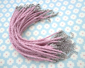 20 pcs 3mm 7 -9 inch adjustable pink  faux braided leather bracelet with white k fitting