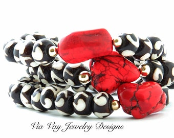 Batik and Red Howlite Nugget Bracelets Set