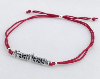 Fearless Intention Bracelet, adjustable string bracelet with Sterling silver inspiring word Charm, Statement bracelet, Beach chic wear