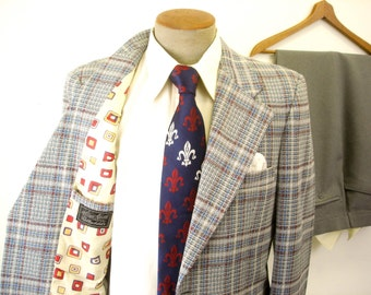 1970s 2 piece Plaid Polyester Mens Suit Disco Era Vintage Red, White, Blue & Gray Blazer and Gray Pants by Stuart Keith - Size 40 (MEDIUM)