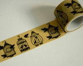 1 Roll of Japanese Washi Tape Roll- Birds in Cages