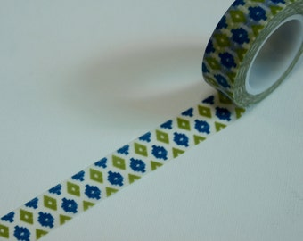 1 Roll of Japanese Washi Tape Roll-  Blue and Green Motifs