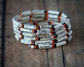 Life of Pi Paper Book Bead Bracelet - Spiral Wrap Bracelet - Memory Wire