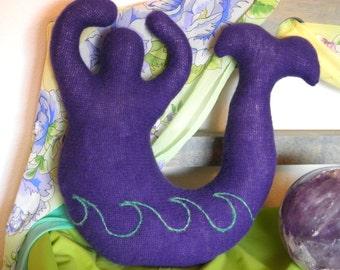 Purple Wave~ Medium Mermaid Wool Goddess Doll