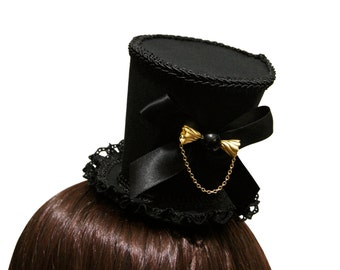 Beautiful Black and Gold Candy Gothic Mini Top Hat - Made to Order
