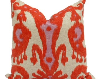 Orange and Lavender Ikat Pillow Cover - Ready to ship!
