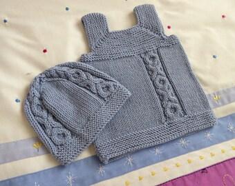 Baby gift set   blue wool handknit vest & hat   boy shower gift   luxury yarn, size 3 months
