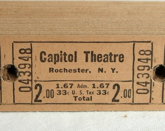 Vintage Theatre Tickets in Sets of 13 and 25 - Old Neutral Beige Movie Theater Tickets - Capitol Theatre in Rochester, NY - Paper Ephemera