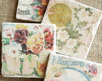 Flower Decor- Flower Gift, Pansy Decor, Pansy Gift, Gardener Gift, Gardener Decor, Stone Coaster, Flower Coaster, Flower Tile, Stone, Pansy