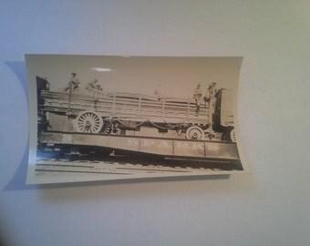 SPARKS Circus   Original Candid Photo circa 1930's   Men on top of Circus Truck