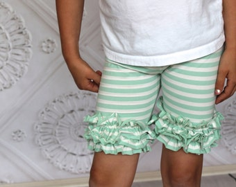 Mint Green and Off White Knee length ruffled shorties from GreenStyle
