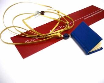 Wearable Miniature Book - Blue Leather Book Pendant, love message, bead stones