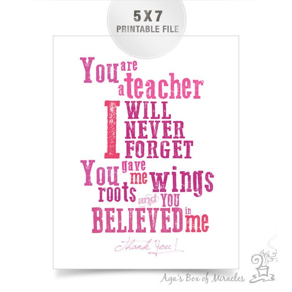 5X7 Pink Teacher Appreciation Printable Jpeg / Thank You