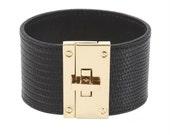 032 BLACK-Wide Face Metal Clasp Leather Cuff Bracelet