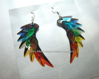 Dragon Scale Wing earrings, Rainbow, iridescent with sterling silver ear wires. Latch back and clip on version available