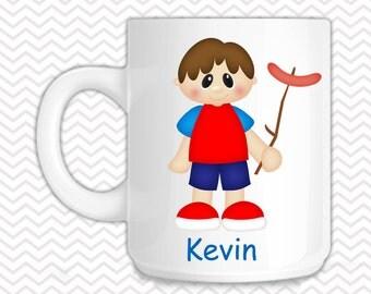 Camping Boy Kids Mug - Personalized Camping Mug - Customized Mug - Melamine Cup - Personalized Kids cup