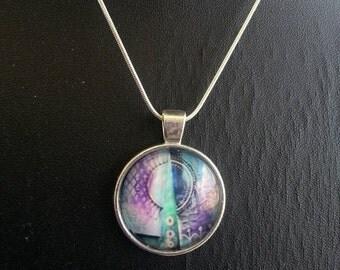 """Purple pink blue pendant necklace """"Patchwork Mandalas"""""""