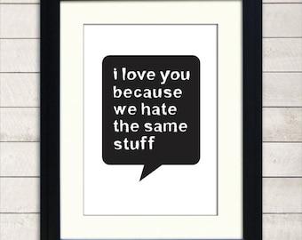 I Love You Print, A3