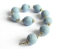Felted balls bangles/Elegant felted wool bangles/Baby blue