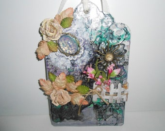 "Tag - LADY in HIDING  ~ Shabby ~ Cottage Chic Tag - Gorgeous Tag - 5"" x 8"" Tag - OOAK, Scrapbooking, Mixed Media Tag"