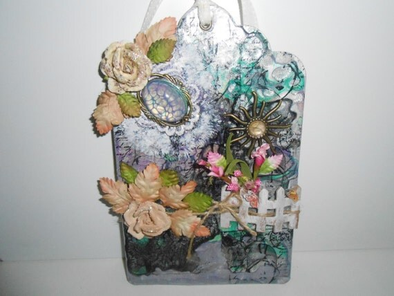 """Tag - LADY in HIDING  ~ Shabby ~ Cottage Chic Tag - Gorgeous Tag - 5"""" x 8"""" Tag - OOAK"""