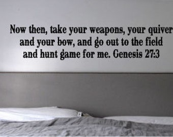 Hunt Game Genesis 27:3 Hunting Scripture Vinyl Wall Art Decal