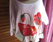 Oversize top with hand-painted poppies.