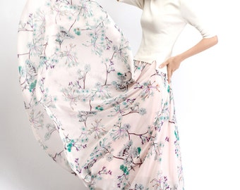 Floral Chiffon Skirt – Maxi Long Floaty Sheer Floral Summer Skirt Handmade Made-To-Measure Woman's Skirt  (C486)