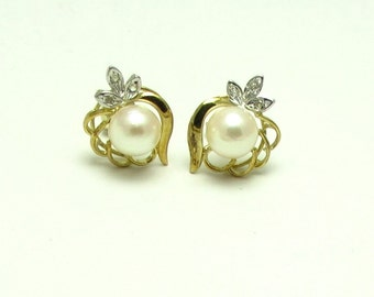 Vintage Pearl Earrings - 14k Yellow and White Gold Pearl and Diamonds Earrings Post Back - Weight 2.8 Grams - June Birthstone - Sweet # 4040