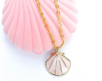 Sea Shell Necklace in Pink Shell Box, Enamel Charm Coral Pink Seashell Necklace, Beach Necklace, Nautical Necklace, Gold Seashell