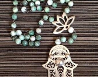 12 copper bead mala bracelet with charm