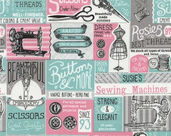 Timeless Treasures Vintage Sewing Patch on White C3803