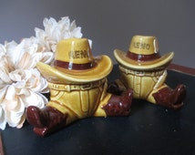 Vintage Cowboy Salt and Pepper Souvenir Reno Nevada  Ceramic Shakers Japan  Never Used Western