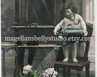 French RPPC Digital Download 1900's Gorgeous Little Girl Watering Flowers  Pink Green White Pastel Hand Tinted