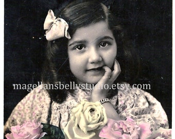 French RPPC Digital Download 1910 Lovely Girl With Pink Yellow White Roses Bow in Hair Real Photo Post Card Hand Tinted