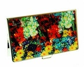 Lacquer Nacre Mother of pearl Business card holder credit ID card case Vincent Van Goghs painting Daisy and Anemone Vase