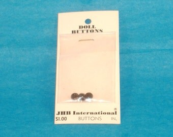 Vintage Doll Buttons - Small Black Round Top Button, Eyeball Button, 4mm - 1 Cards of 3 Buttons - Through Back Acrylic Button